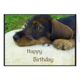 Alles Gute zum Geburtstag, niedlicher Dackelwelpe Karte
