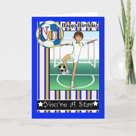 Alles Gute Zum Geburtstag No1 Fussball Fussball Karte Zazzle De