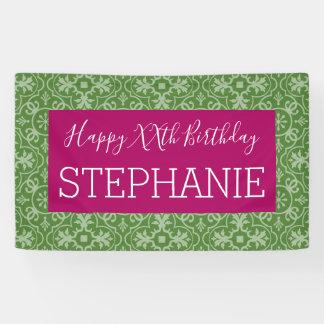 Alles Gute zum Geburtstag - rosa grünes Banner