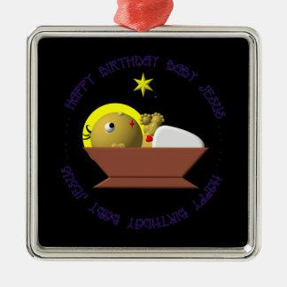Alles- Gute zum Geburtstagbaby Jesus Silbernes Ornament