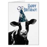 Alles- Gute zum GeburtstagBauer - Party-Hut-Kuh Karten