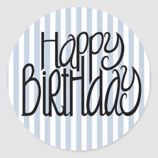 Alles- Gute zum Geburtstagblaue Streifen-Aufkleber Runder Aufkleber