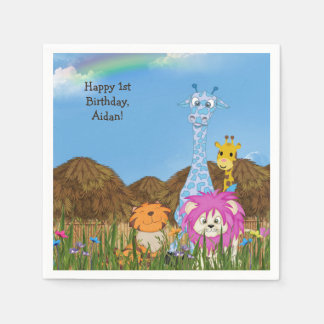 Alles Gute zum Geburtstagdschungeltiere mit Hütten Serviette