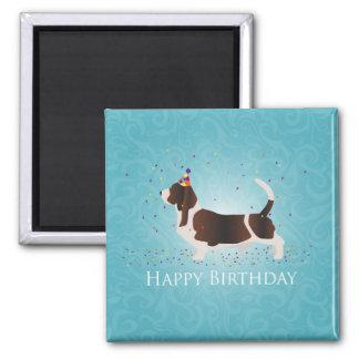 Alles- Gute zum Geburtstagentwurf Basset Hounds Quadratischer Magnet