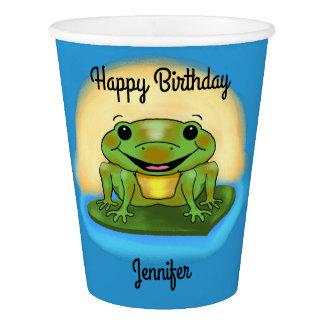 Alles- Gute zum Geburtstagfrosch auf eine Pappbecher