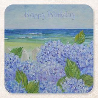 Alles Gute zum GeburtstagHydrangeas durch das Meer Rechteckiger Pappuntersetzer