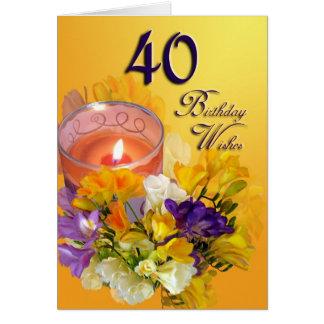 Alles- Gute zum Geburtstagkarte der Freesias-40. Karte