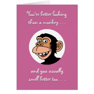 Alles- Gute zum Geburtstagkarte: Lustiger Affe Karte