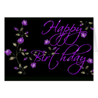 Alles- Gute zum Geburtstagkarte mit lila Blumen Grußkarte