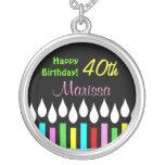 Alles- Gute zum Geburtstagkerzen - Damen-runder An Personalisierte Halskette