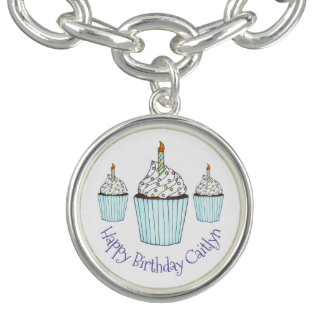 Alles- Gute zum Geburtstagkuchen-personalisiertes Charm Armbänder