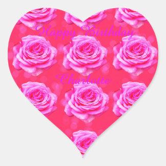 Alles- Gute zum Geburtstagmädchen-Namenslogo Herz-Aufkleber