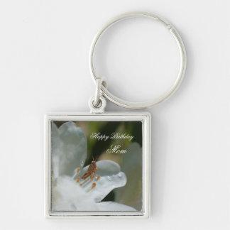 Alles- Gute zum Geburtstagmamma-Azaleen-Blume Silberfarbener Quadratischer Schlüsselanhänger