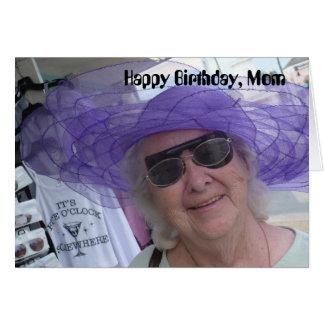 Alles- Gute zum Geburtstagmamma, Dame im lila Hut Grußkarte