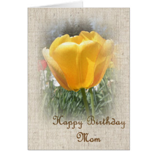Alles- Gute zum Geburtstagmamma - gelbe Tulpe Grußkarte
