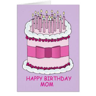 Alles- Gute zum Geburtstagmamma, großer Kuchen Grußkarte