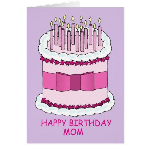Alles- Gute zum Geburtstagmamma, großer Kuchen Karten