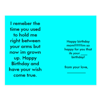 Alles Gute zum Geburtstagmamma!!!!!!! im so Postkarte