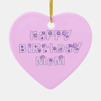 Alles- Gute zum Geburtstagmamma-Verzierungs-Rosa Keramik Herz-Ornament
