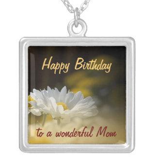 Alles- Gute zum Geburtstagmamma - weißes Halskette Mit Quadratischem Anhänger