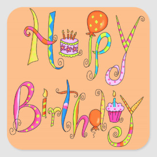 Alles- Gute zum Geburtstagorangen-Aufkleber Quadratischer Aufkleber