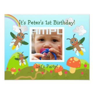 Alles- Gute zum GeburtstagParty mit Leuchtkäfer 10,8 X 14 Cm Einladungskarte