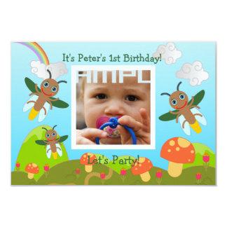 Alles- Gute zum GeburtstagParty mit Leuchtkäfer 8,9 X 12,7 Cm Einladungskarte
