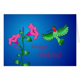 Alles- Gute zum Geburtstagpetunie mit Kolibri Karte