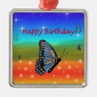Alles- Gute zum Geburtstagschmetterling Silbernes Ornament