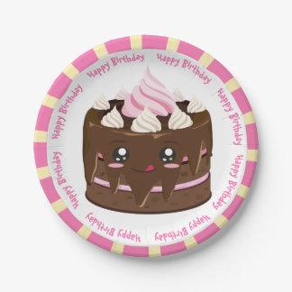 Alles Gute zum Geburtstagschokolade kawaii Kuchen Pappteller