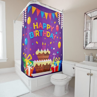 Alles- Gute zum Geburtstagschokoladen-Kuchen Duschvorhang