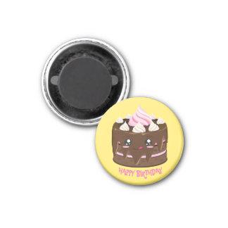 Alles Gute zum Geburtstagschokoladenkuchen, Runder Magnet 2,5 Cm