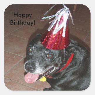 Alles- Gute zum Geburtstagschwarzer Hund mit Red Quadratischer Aufkleber