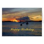Alles- Gute zum GeburtstagSegelboote am Sonnenunte Karten