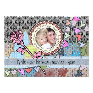 Alles Gute zum Geburtstagspaß-Rose und Individuelle Ankündigskarten