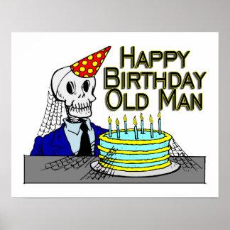 Alles- Gute zum Geburtstagspinnen-Netz-alter Mann Poster