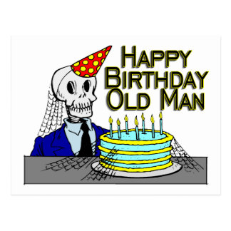 Alles- Gute zum Geburtstagspinnen-Netz-alter Mann Postkarte