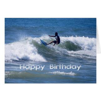 Alles- Gute zum GeburtstagSurfer, der eine Welle r Grußkarte