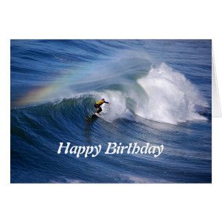 Alles- Gute zum GeburtstagSurfer mit Regenbogen Karte