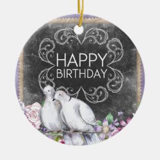 Alles Gute zum Geburtstagtauben Keramik Ornament