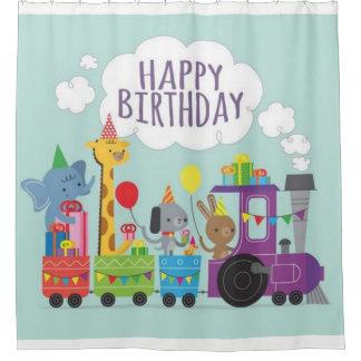 Alles- Gute zum GeburtstagTier-Zug Duschvorhang