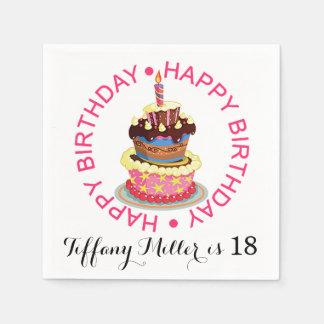 Alles- Gute zum Geburtstagüberlagerter Kuchen mit Papierservietten