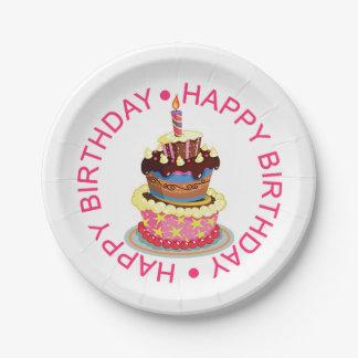 Alles- Gute zum Geburtstagüberlagerter Kuchen mit Pappteller