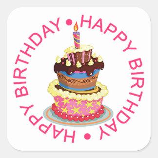 Alles- Gute zum Geburtstagüberlagerter Kuchen mit Quadratischer Aufkleber