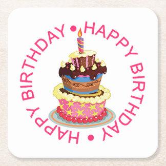 Alles- Gute zum Geburtstagüberlagerter Kuchen mit Rechteckiger Pappuntersetzer