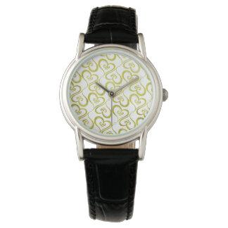 Alles Herz-Gold auf Weiß Uhr