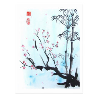 Alles ist OKAY Bambus-und Pflaumen-Postkarte Postkarte