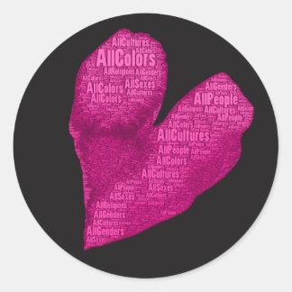 Alles Leute-Rosa-Herz auf schwarzen Aufklebern (6) Runder Aufkleber