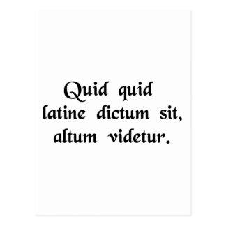 Alles sagte in den lateinischen profunden Tönen Postkarte