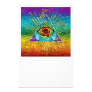 Alles sehende Auge des Gottes - abstrakte 14 X 21,6 Cm Flyer